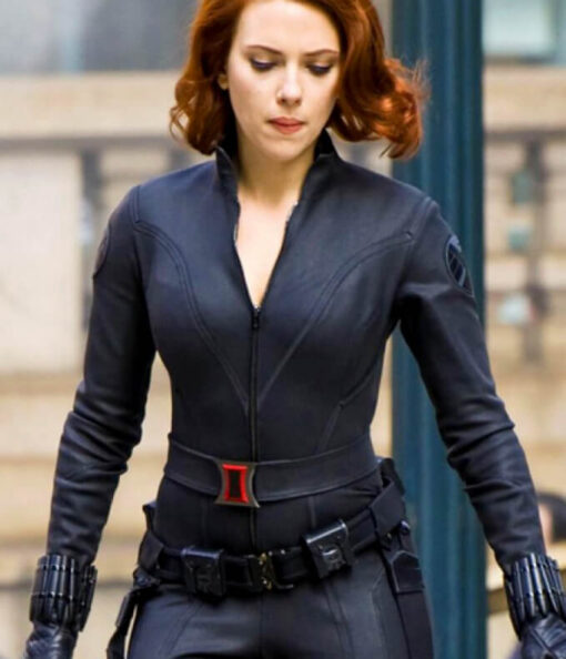 Black Widow Leather Jacket - Avengers Age Of Ultron Movie