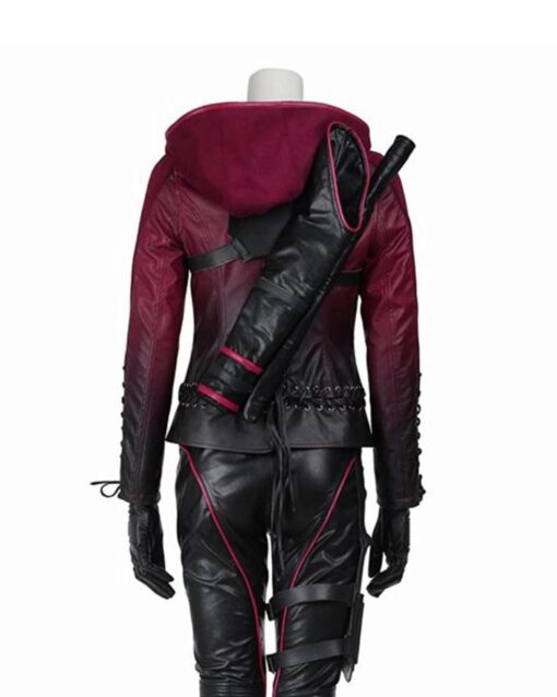 Thea Queen Arrow Leather Hooded Jacket