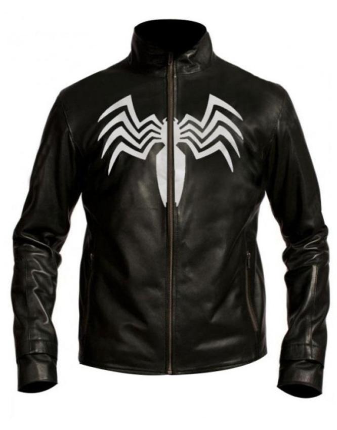 Attractive Spider Logo Black Venom Leather Jacket ...