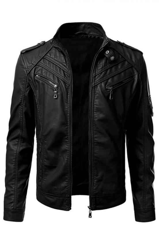0913687e2 Mens Slim Fit Black Leather Biker Jacket