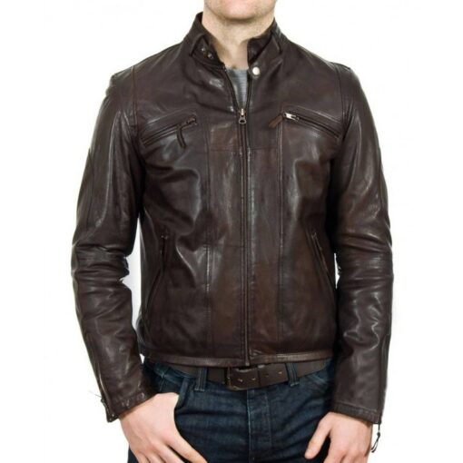 Mens Brown Motorcycle Brown Jacket