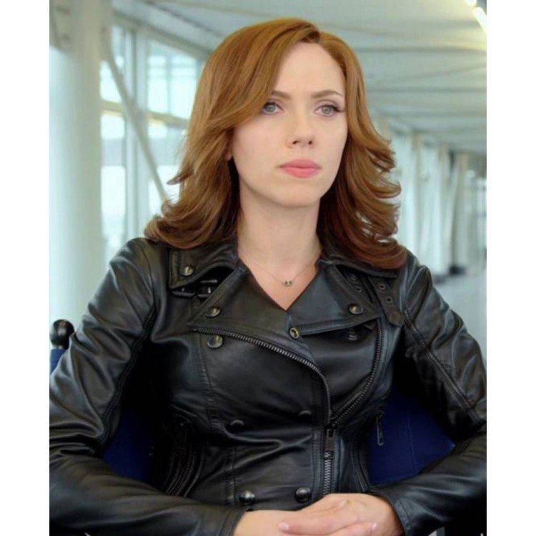 Civil War Scarlett Johansson Black Leather Jacket
