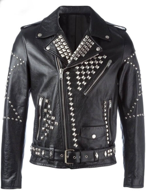 Black-Studded-Biker-Leather-Motorcycle-Jacket