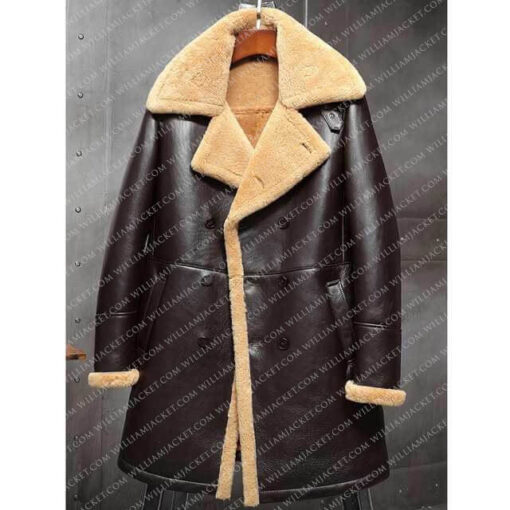 B-3 Shearling Tom Hardy Farrier Brown Leather Long Coat William Jacket