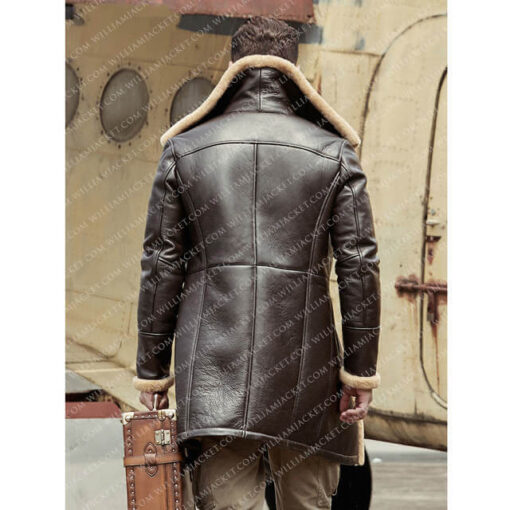 B-3 Shearling Tom Hardy Farrier Brown Leather Long Coat William Jacket Back