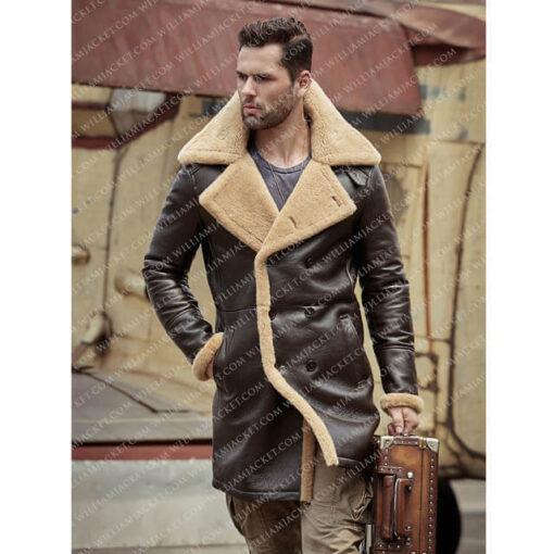 B-3 Shearling Tom Hardy Farrier Brown Leather Long Coat William Jacket Design