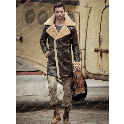 B-3 Shearling Tom Hardy Farrier Brown Leather Long Coat William Jacket Full