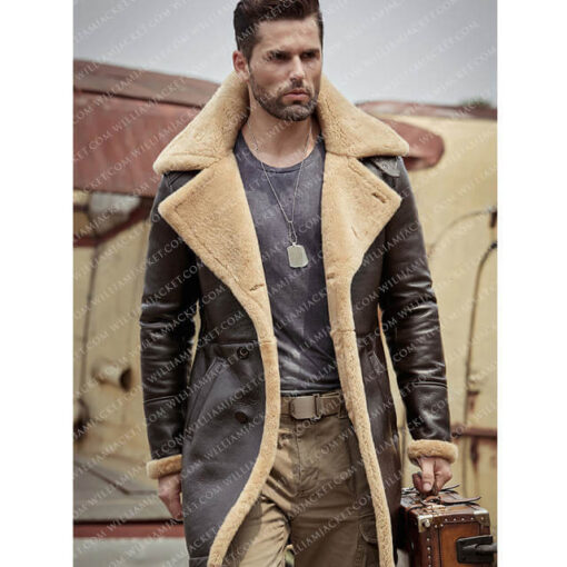 B-3 Shearling Tom Hardy Farrier Brown Leather Long Coat William Jacket Open