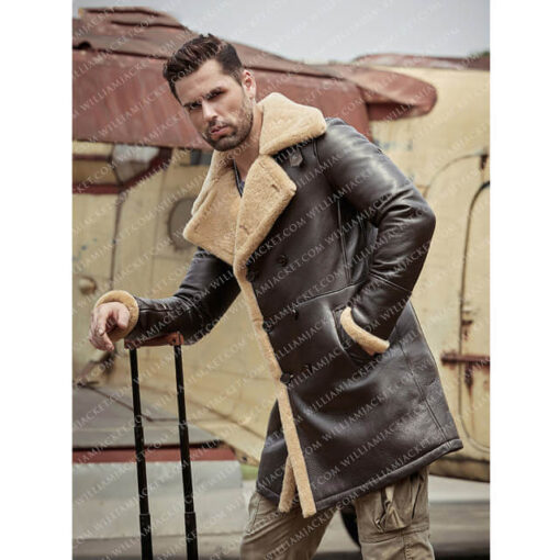 B-3 Shearling Tom Hardy Farrier Brown Leather Long Coat William Jacket Side