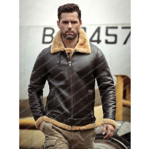 Tom Hardy Brown Leather Shearling B3 Farrier Jacket
