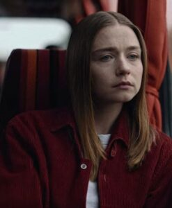 Jessica Barden Corduroy Red Jacket