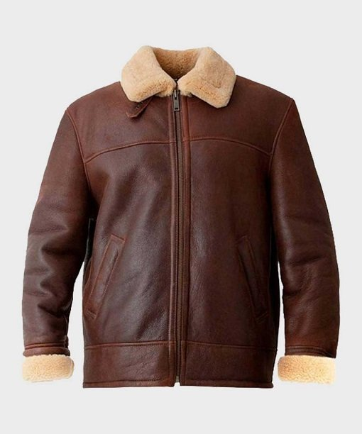 Mens Aviator Shearling Leather Brown Jacket
