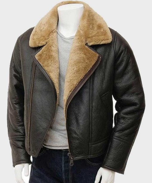 Mens Brown Shearling Real Leather Jacket